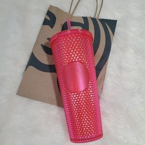 STARBUCKS HOT PINK STUDDED TUMBLER NWT